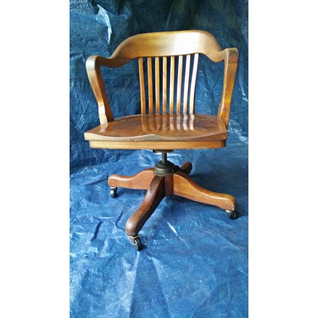 Marble amp Shattuck Oak Barrel Back Swivel Chair Chairish