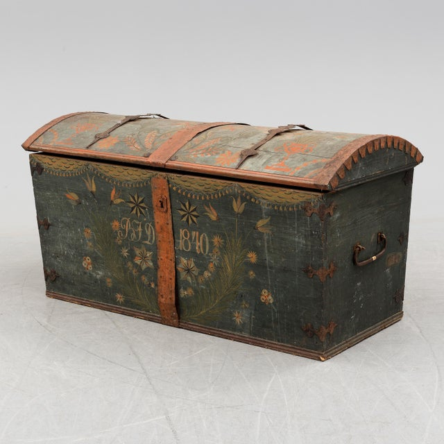 Blue Antique Swedish Wedding Chest For Sale - Image 8 of 8