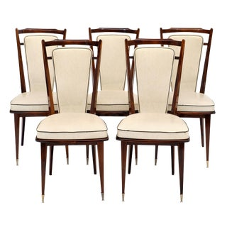 French Modernist Vinyl Dining Chairs - Set of 5 For Sale