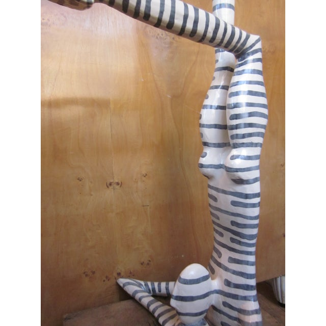 "Original Studio Art Postmodern Ceramic ""Acrobat"" Figural Blue Striped Biomorphic Form Sculpture by Jack Charney For Sale - Image 10 of 13"