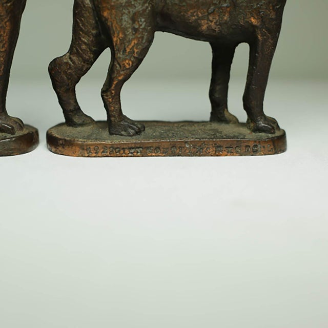"Industrial Solid Bronze German Shepard Bookends Stamped ""1929 Gift House Inc. Nyc"" For Sale - Image 3 of 6"