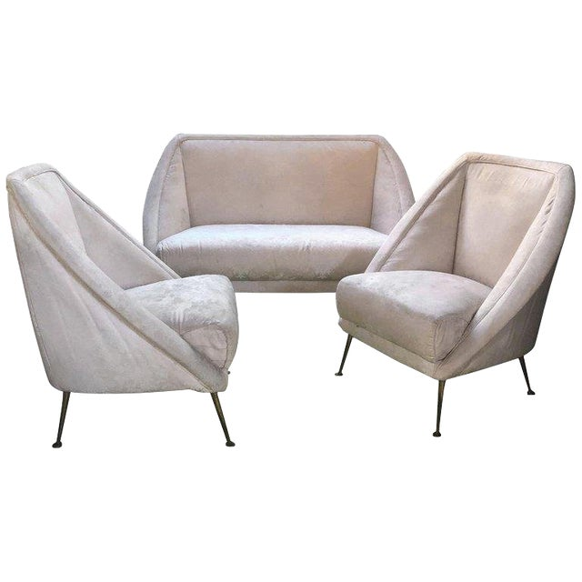 Guglielmo Veronesi Settee With Two Lounge Chairs For Sale