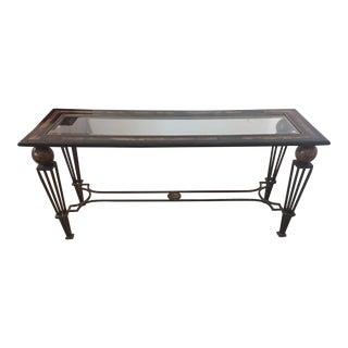 Beveled Glass Topped with Ebony Marble Inlay Console Table