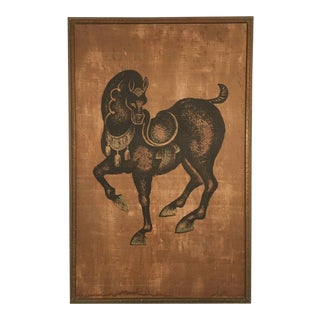Vintage Mid Century Large Scandinavian Swedish Horse Print Painting Artwork For Sale