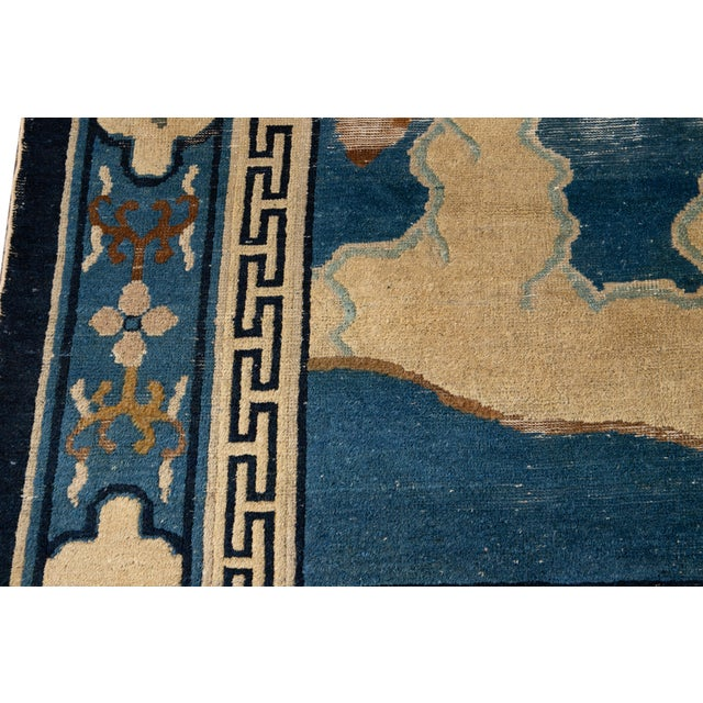 Early 20th Century Antique Art Deco Chinese Peking Wool Rug For Sale - Image 10 of 13