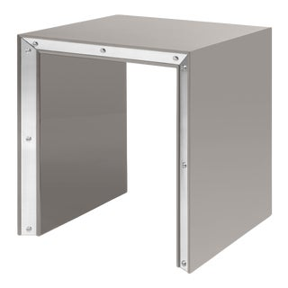 Large Edge Side Table in Taupe / Nickel - Flair Home for The Lacquer Company For Sale