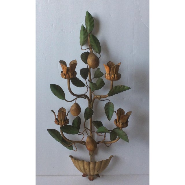 Metal Painted Tole Wall Sconce With Alabaster Pears For Sale - Image 7 of 7