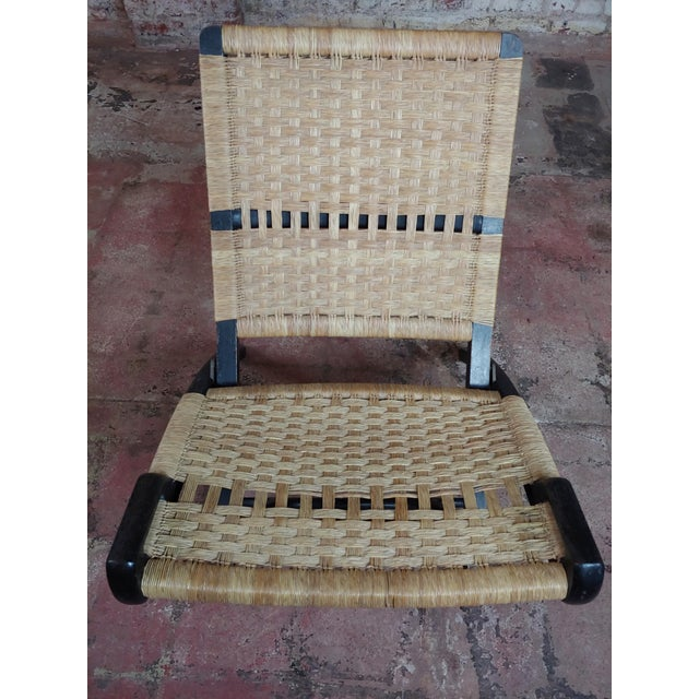 1960s Vintage Hans Wegner Woven Rope Folding Chair For Sale - Image 5 of 10