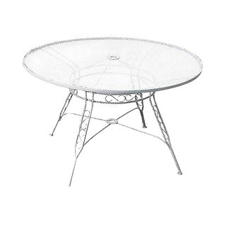 Vintage Round Iron Patio Dining Table (A) For Sale