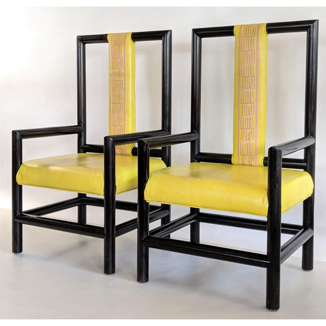 1980s Vintage Kelly Wearstler for the Viceroy Hotel High Back Arm Chairs - a Pair For Sale - Image 13 of 13