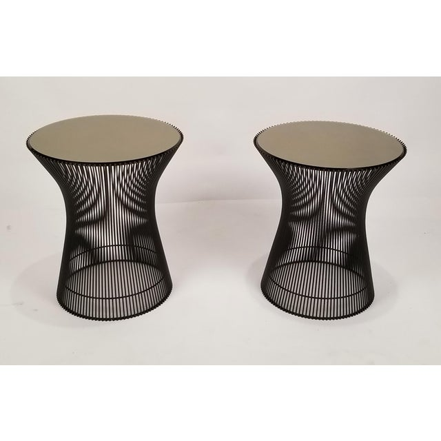 Early pair of side tables designed by Warren Platner for Knoll, 1966. Tables are in a bronze finish in very good condition...