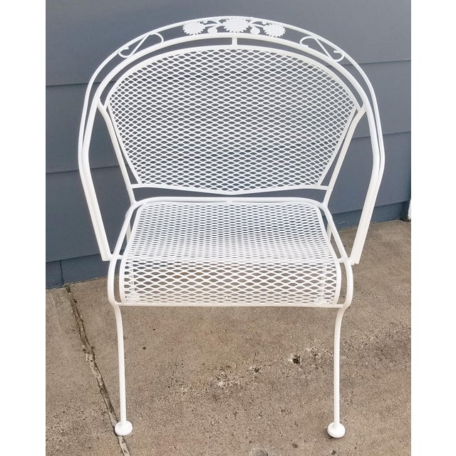 "Vintage Woodard ""Daisy Bouquet "" Wrought Iron Barrel Back Patio Chairs For Sale - Image 10 of 11"