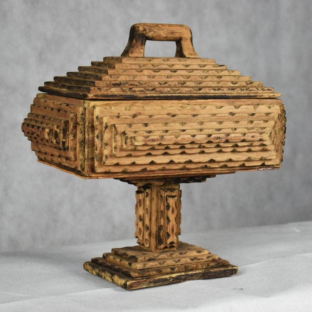 Brown Antique Hand Carved Wood Tramp Art Keepsake Box With Lid on Stand For Sale - Image 8 of 8
