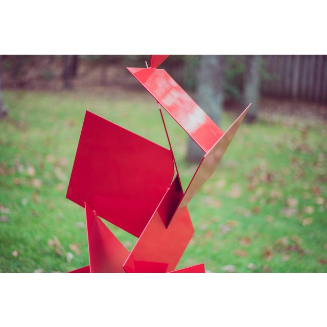 """Red Modern Abstract Balanced Gravity """"Sotto"""" Red Steel Sculpture For Sale - Image 8 of 11"""