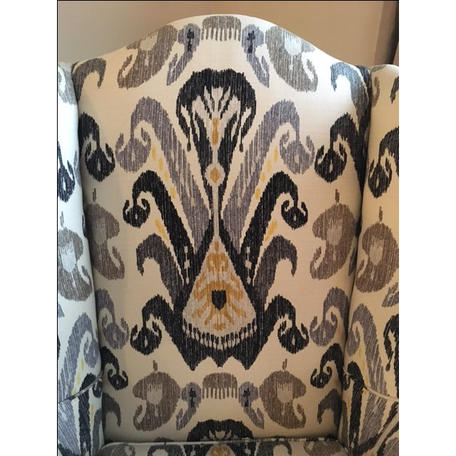 Antique Boho Ikat Wingback Chair - Image 3 of 6