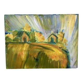 Abstract Bucolic Countryside Oil Painting