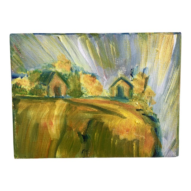 Abstract Bucolic Countryside Oil Painting For Sale