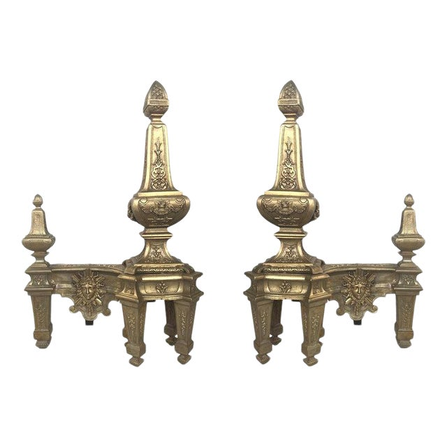 19th Century Set of Antique Andirons or Firedogs in Bronze and Iron For Sale