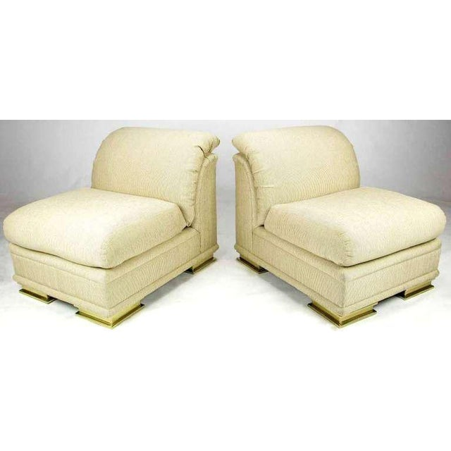 Elegant Art Deco revival slipper chairs from Henredon. The pair have been reupholstered in a lovely taupe pinstripe silk...