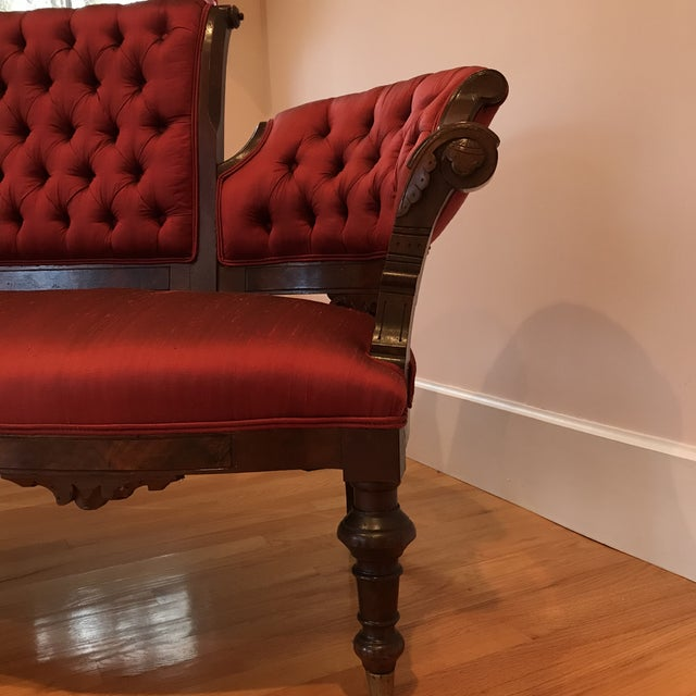 1900s Antique Mahogany Silk Settee For Sale In Baltimore - Image 6 of 7