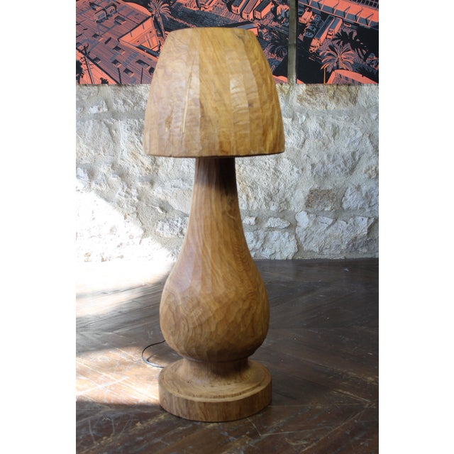 Tan Vintage Wooden Mushroom Form Lamp For Sale - Image 8 of 8
