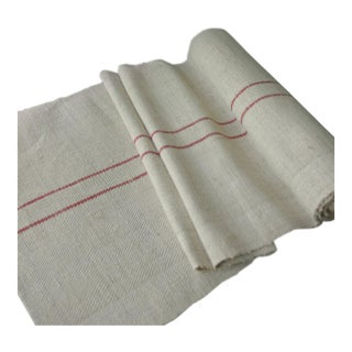 Vintage Rustic Hemp Homespun Table Runner Red Stripe Fabric - 5.6 Yards For Sale