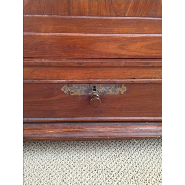 Solid Teak Art Deco Wood Armoire - Image 7 of 7