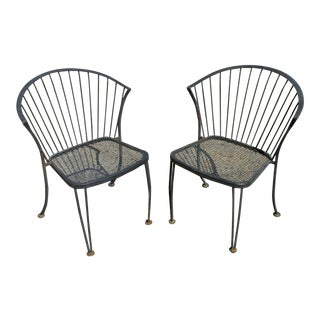 Mid Century Modern Woodard Pinecrest Wrought Iron Patio Garden Chairs- A Pair For Sale