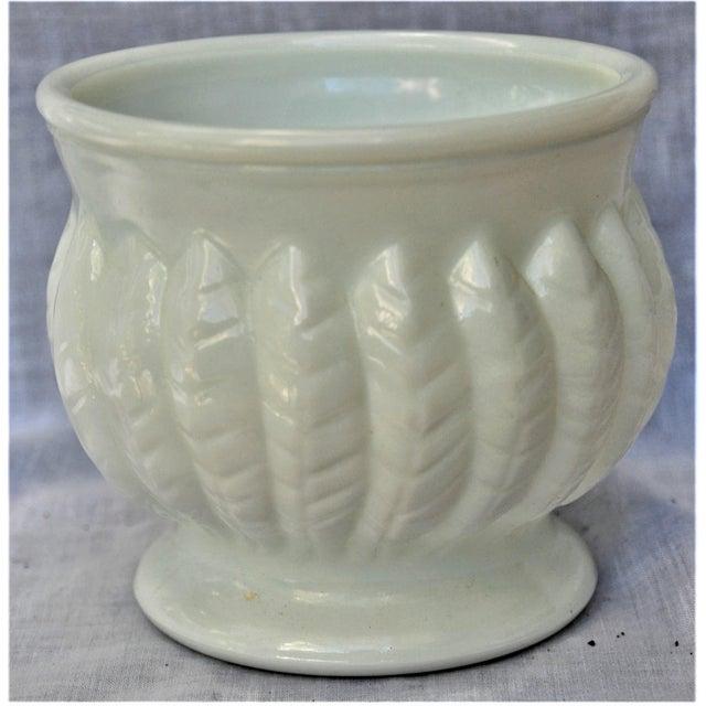 Glass Vintage Leaf Design Randall Milk Glass Vase For Sale - Image 7 of 7