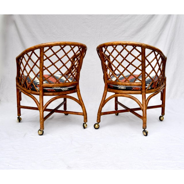 Chinoiserie Chinese Chippendale Rattan Barrel Chairs on Casters For Sale - Image 9 of 13
