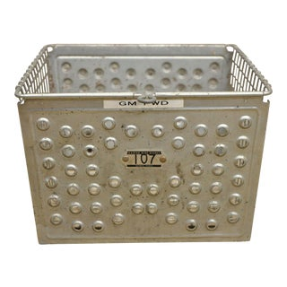 Vintage Kaspar Industrial Wire Works Metal Perforated Storage Gym Locker Basket For Sale
