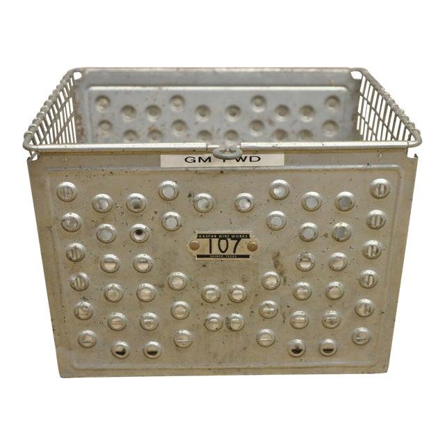 Vintage Kaspar Industrial Wire Works Metal Perforated Storage Gym Locker Basket For Sale