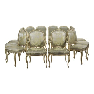 French Louis XV Style Distressed Painted Dining Chairs - Set of 12