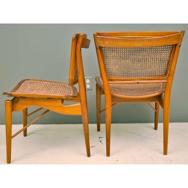Danish Modern Finn Juhl Walnut & Cane Chairs - a Pair For Sale - Image 3 of 7