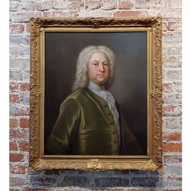 Portrait of an English Aristocrat in Green Coat-18th Century Oil Painting Possibly by Thomas Hudson For Sale - Image 11 of 11