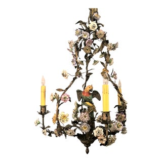 Antique French Charming Tole and 'Saxe' Flowers With Porcelain Chandelier, Circa 1850-1870. For Sale