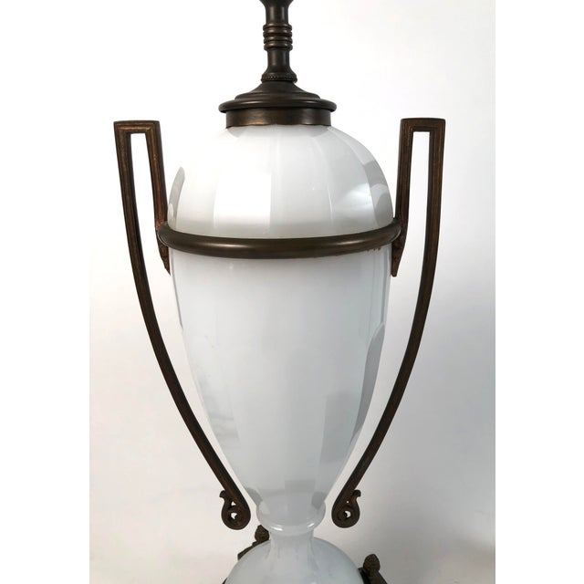 Metal Louis XVI Style Neoclassical White Opaline Glass and Ormolu Lamps - a Pair For Sale - Image 7 of 13
