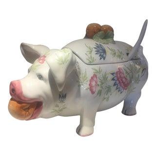 Vintage Hand Painted Large Italian Pig Tureen