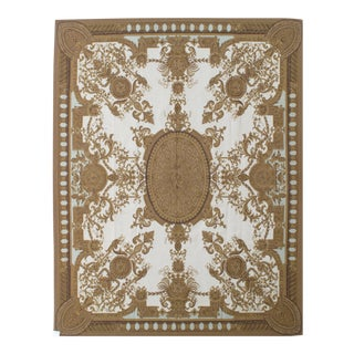 French Aubusson Design Hand Woven Gold & Ivory Wool Rug - 9' X 12' For Sale