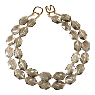 Kenneth Jay Lane Faceted Gray Glass Bead Necklace For Sale