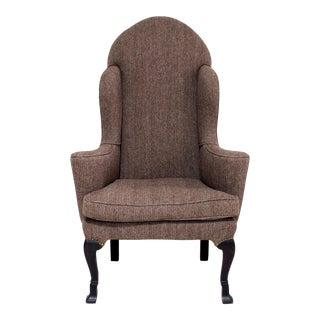 Vintage Wing Chair Reupholstered in Vintage Harris Tweed Fabric For Sale