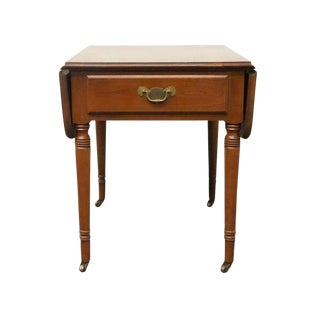 20th Century Tradiitonal Statton TruType Americana Solid Cherry Drop Leaf Pembroke End Table For Sale