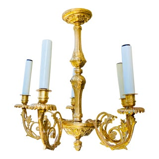19th Century English Victorian 5-Arm Cast Gilt Brass Chandelier For Sale