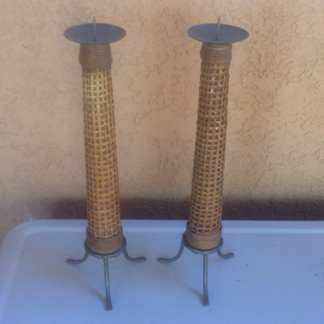 Mid Century Wooden Cane Wrapped Candlesticks - 2 - Image 2 of 5