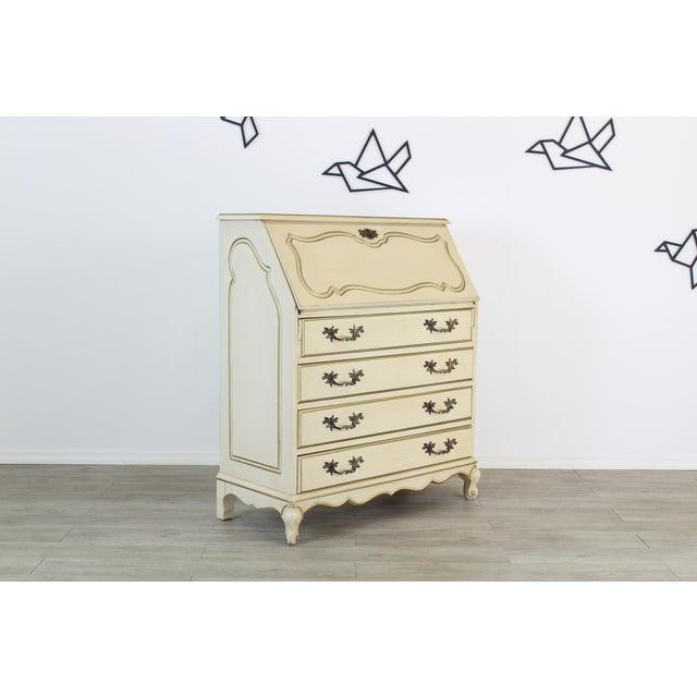 Metal Traditional Secretary Desk, Cream Secretary Desk For Sale - Image 7 of 12