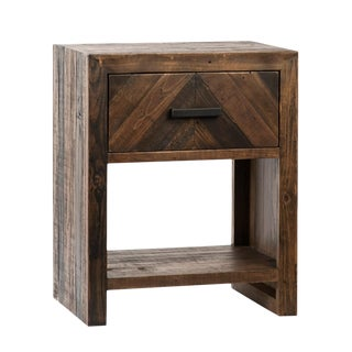 Salvaged Chevron Drawer Nightstand For Sale