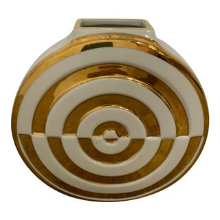 2020s Jonathan Adler Gold and White Bullseye Futura Vase For Sale