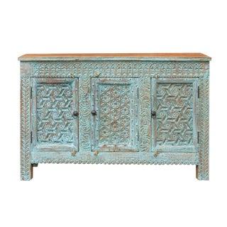 Vintage Moorish Blue Credenza For Sale