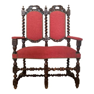 Gothic Style Early 20th Century Walnut Upholstered Settee For Sale