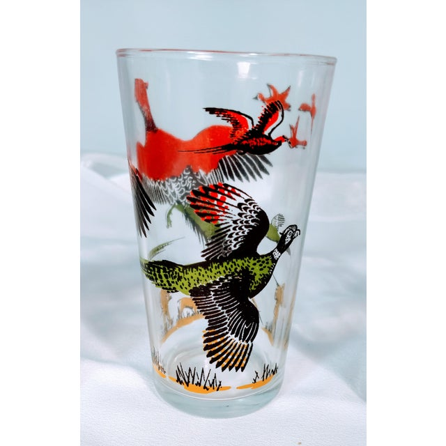 1950s Hazel Atlas Mid-Century Modern Pheasant Hunting Glasses - Set of 5 For Sale - Image 5 of 8